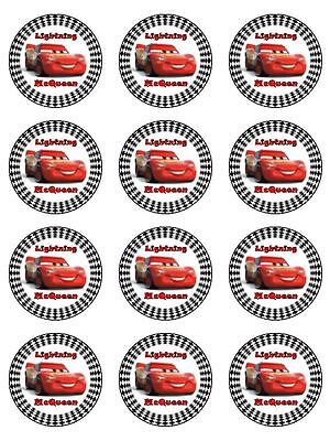 24 LIGHTNING McQUEEN Cupcake Toppers Edible Wafer Paper Birthday Cake Decoration • 4.93£