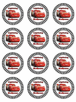 12 LIGHTNING McQUEEN Cupcake Toppers Edible Icing Image Birthday Cake Decoration • 5.43£