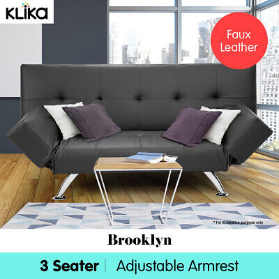 AU339 • Buy Brooklyn Sofa Bed Lounge Faux Leather Couch Futon Furniture Adjustable Suite GR