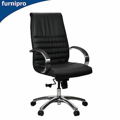 AU399 • Buy Franklin Mid/High Back Executive Black Genuine Leather Office Chair With Arms