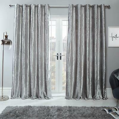 Sienna Crushed Velvet Pair Of Fully Lined Ring Top Eyelet Curtains Silver Grey • 14.99£