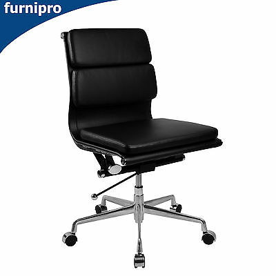 AU385 • Buy Executive Manta Mid Back Office Chair With Premium Black Leather Aluminium Base