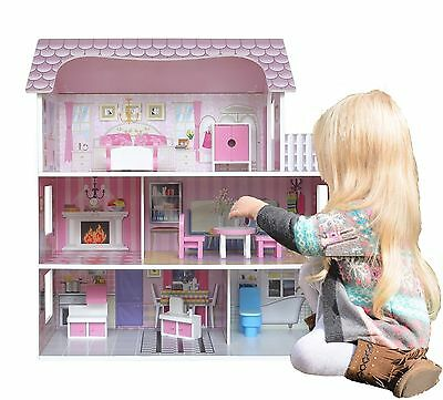£49.99 • Buy Kiddi Style Large Kids Girls Victorian Mansion Wooden Doll House & Furniture NEW
