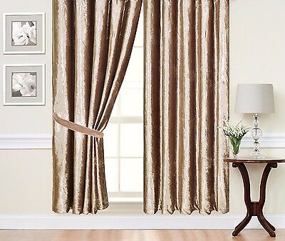 £1.50 • Buy Caravan Curtain Pair Of Fully Lined Ready Made  Plain Heavy Crushed Velvet Sale