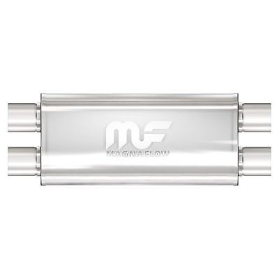 """5.5/"""" Oval Euro Burnt Tip Stainless Weld-On Exhaust Muffler 2.5/""""Inlet Universal 3"""