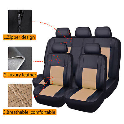 AU85.49 • Buy Universal Car Seat Covers Faux Leather Black Beige Full Seat Airbag Breathable