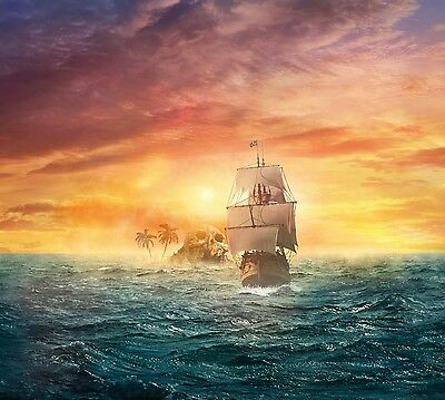 Pirate Ship - Skull Island Warm Sunset Sea Landscape Large Canvas Picture 20X30  • 21.99£
