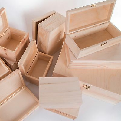 £8.45 • Buy Selection Of Small & Large Wooden Storage Boxes /Memory Keepsake Box With Lid