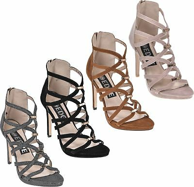 £10.99 • Buy New Womens High Heels Ladies Stiletto Caged Cut Out Peep Toe Sandals 3-8