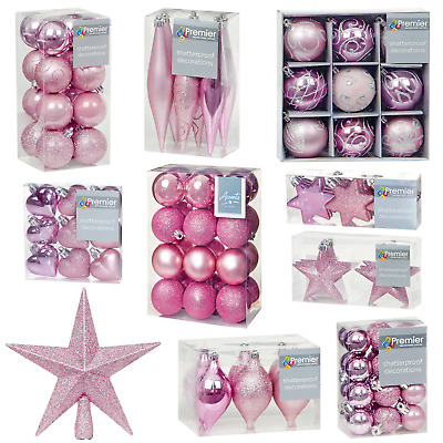 Pink Collection Christmas Decorations Baubles Stars Cones Hearts Tree Topper • 5.99£