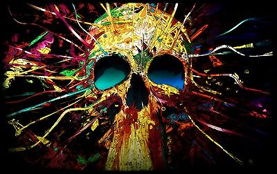 £21.99 • Buy Psychedelic Skull Painting - Abstract Modern Wall Art Canvas Picture 20x30inch