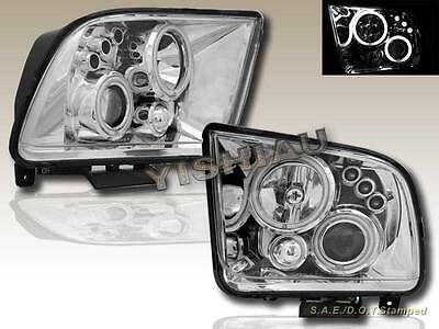 $169.99 • Buy 05-09 Ford Mustang Gt Ccfl Dual Led Projector Headlights Chrome Clear
