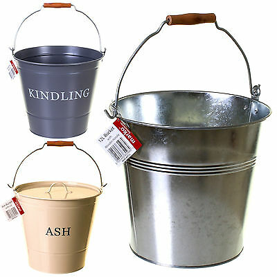 12L Large Metal Bucket Scuttle Wooden Handle Fireside Ash Kindling Coal Bucket • 8.99£
