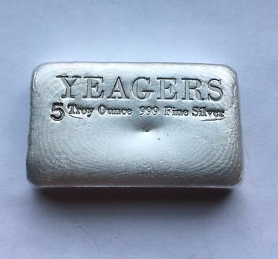 $ CDN216 • Buy 5 Oz Hand Poured 999 Silver Bullion Bar By YPS (Bare Bones)