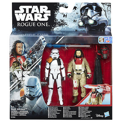 Star Wars Rogue One 3.75  Baze Malbus VS Imperial Stormtrooper Figures By Hasbro • 12.99£