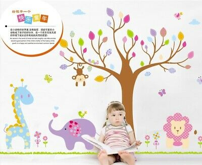 £8.99 • Buy Jungle Zoo Happy Animals Wall Stickers Removable Mural Vinyl Home Kids Nursery