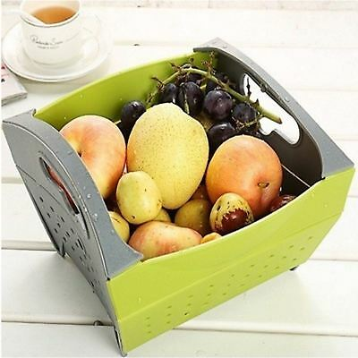Snapfold Folding Kitchen Sink Colander Drainer Strainer Vegetable Fruit Basket • 3.99£