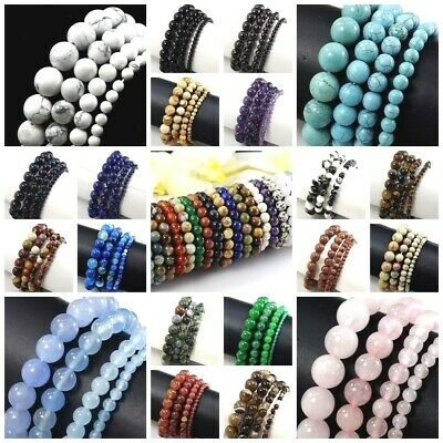 $4.49 • Buy Handmade Natural Gemstone Round Bead Bracelet 7.5  Elastic Reiki 4 6mm 8mm 10mm