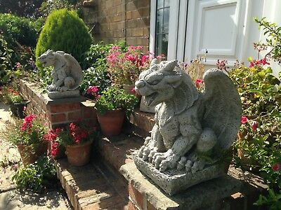 PAIR Of Grotesque Gargoyle Statues,garden Stone Ornaments,Mythical Being Figures • 120£