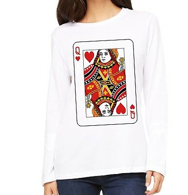 Velocitee Ladies Long Sleeve T-Shirt Queen Of Hearts Playing Cards V188 • 11.45£