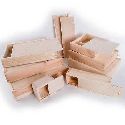 Wooden Storage Boxes With Sliding Lid / Photo Pendrive Memory Keepsake Boxes  • 8.75£