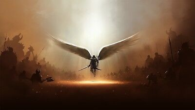 £19.79 • Buy Angel Wings - Fantasy Warrior Army Sword Large Canvas Picture Print 20x30Inch