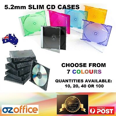 AU15.95 • Buy 5mm Slim CD Jewel Cases Slimline CD Case Single Disc BLACK And MIXED COLOUR