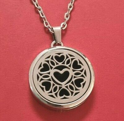 AU12.71 • Buy Aromatherapy Necklace Heart Essential Oil Diffuser 20inch Chain Stainless Steel
