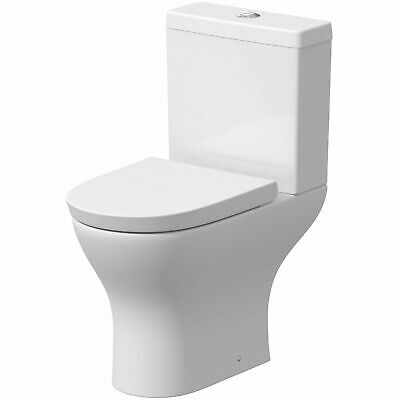 Ceramic Round Short Projection Compact Close Coupled Toilet Pan Wc Soft Closing • 199£