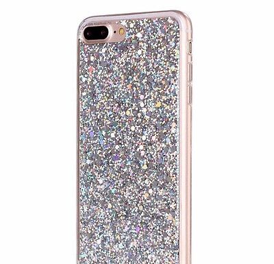 AU10.18 • Buy For IPhone 8+ Plus - HARD TPU RUBBER GEL CASE COVER SILVER SHINY GLITTER SEQUIN