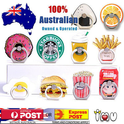 AU9.95 • Buy Cute Finger Ring Holder Pop Stand Grip IPhone Samsung Phone Socket Burger Fries