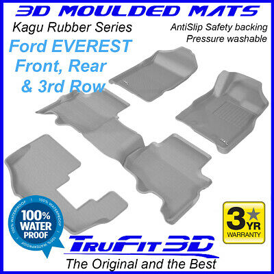 AU1099 • Buy To Suit Ford Everest GREY Rubber 3D Floor Mats - 2015 - 2020