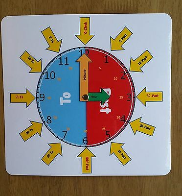 £3 • Buy *new Design* - Clock Face -Learn To Tell The Time-  Special Needs- Teaching