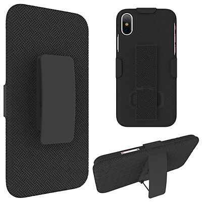 IPhone X / XS / 10S - HARD COMBO HOLSTER KICKSTAND CASE COVER W/ BELT CLIP BLACK • 6.40£
