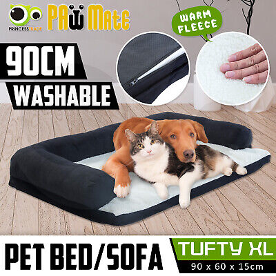 AU36.90 • Buy Pet Couch Dog Cat Sofa Bed Bolster Soft Suede Warm Cushion Fleece Deluxe XL BK