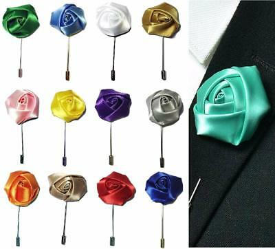 Rose Flower Corsage Boutonniere Stick Silky Lapel Buttonhole Grooms Wedding UK • 2.49£