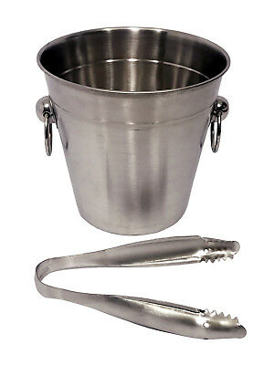 Stainless Steel Cooler Wine Beer Cool Ice Bucket With Tongs Champagne Party • 6.95£