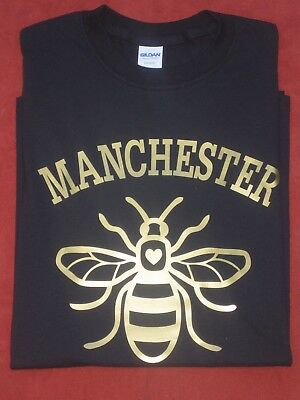 Manchester Worker Bee T Shirt Anniversary Oasis City United NEW Printed • 12.50£