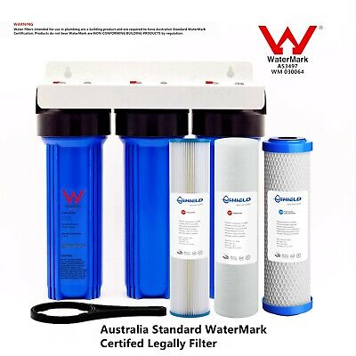 AU119.95 • Buy Triple Whole House Water Filter System 10  X 2.5   3 Stages Brass Port WaterMark
