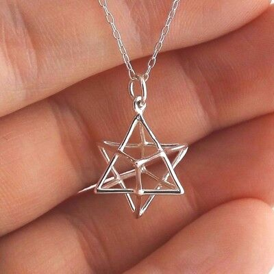 Sacred Geometry 3D Wire Star Charm Necklace 925 Sterling Silver Merkaba Symbol • 23.92£