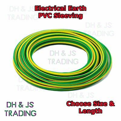 Electrical PVC Sleeving Earth Green Yellow 2mm 3mm 4mm Tubing Wire Cable Socket • 1.69£