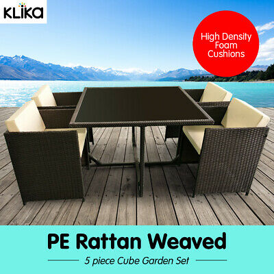 AU295 • Buy New 5 Pc Outdoor Furniture Rattan Wicker Dining Table Chair Sofa Set - Black