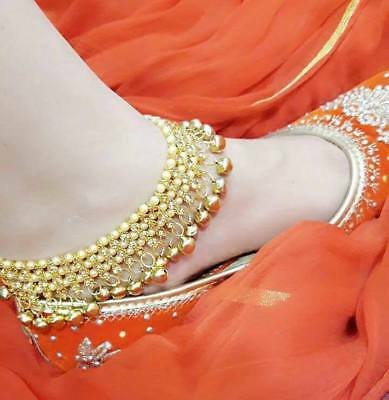 £10.99 • Buy Gold Indian Bell Charm Ankle Bracelet Anklet Foot Chain Ghungroo Payal Pajeeb