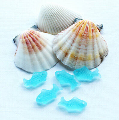 £4.95 • Buy 2 Sea Glass Beads Cultured Fish Shape With Drilled Hole Side To Side - U082
