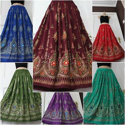 £12.99 • Buy Boho Gypsy Party Skirt Long Summer Hand Sewn Sequin Holiday One Size 8 10 12 14