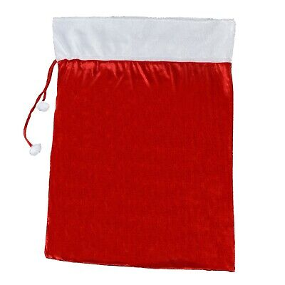 Deluxe Red Velour Giant Sack With White Trim & Pom Pom Ties • 12.12£
