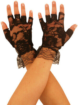 £2.99 • Buy Ladies Black Fingerless Lace Gloves Halloween Party Accessory Fancy Dress Witch