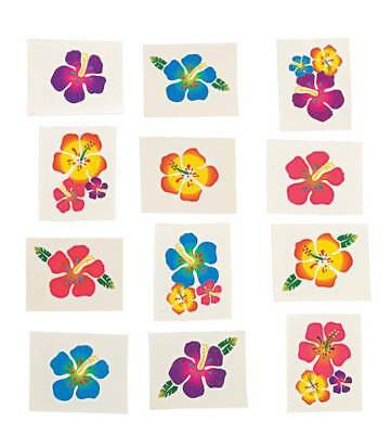 36 Luau  Hawaiian Tropical Hibiscus Flower Tattoos - Party Favors Birthday  • 1.43£