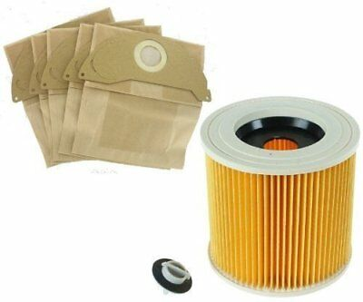 Karcher Wet & Dry WD2 WD3.500 Vacuum Cleaner Filter & 5  Dust Hoover Bags • 7.99£