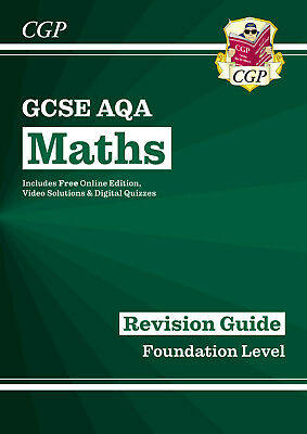 £6.39 • Buy New Cgp GCSE AQA Grade 9-1 FOUNDATION Maths Revision Guide Book + Online Edition